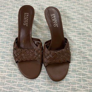 Franco Sarto Brown Woven Leather Mules
